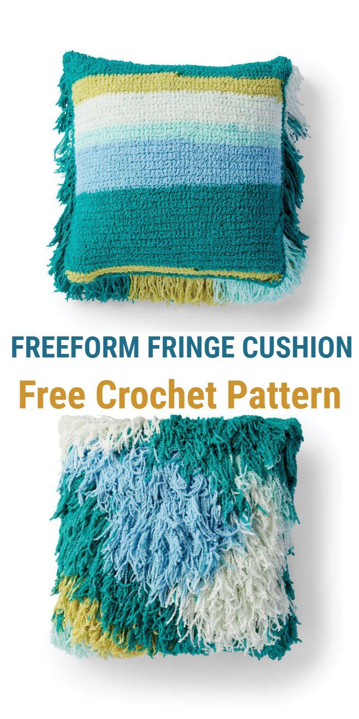 Freeform Fringe Crochet Cushion