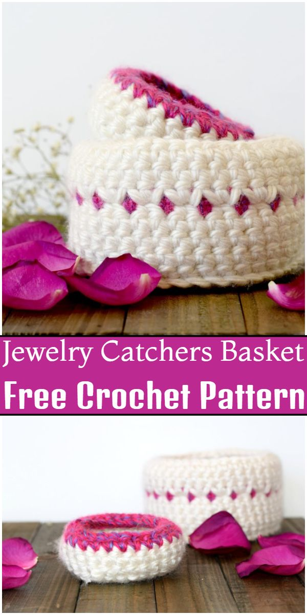 Free Crochet Jewelry Catchers Basket Pattern