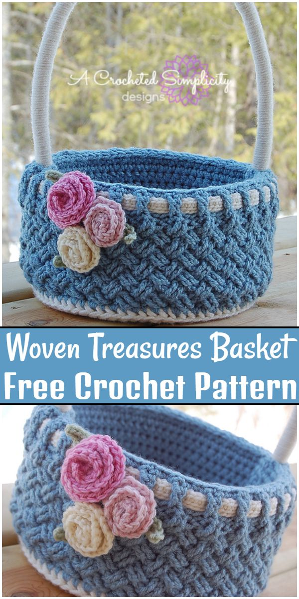 Free Crochet Woven Treasures Basket Pattern