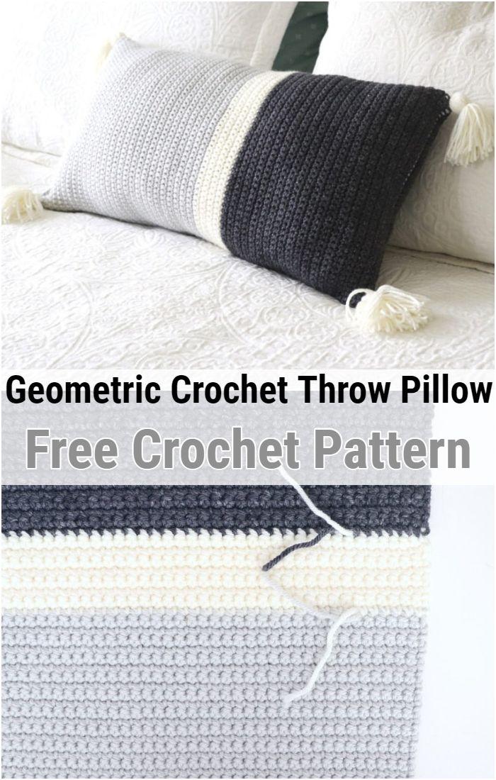 Geometric Crochet Throw Pillow