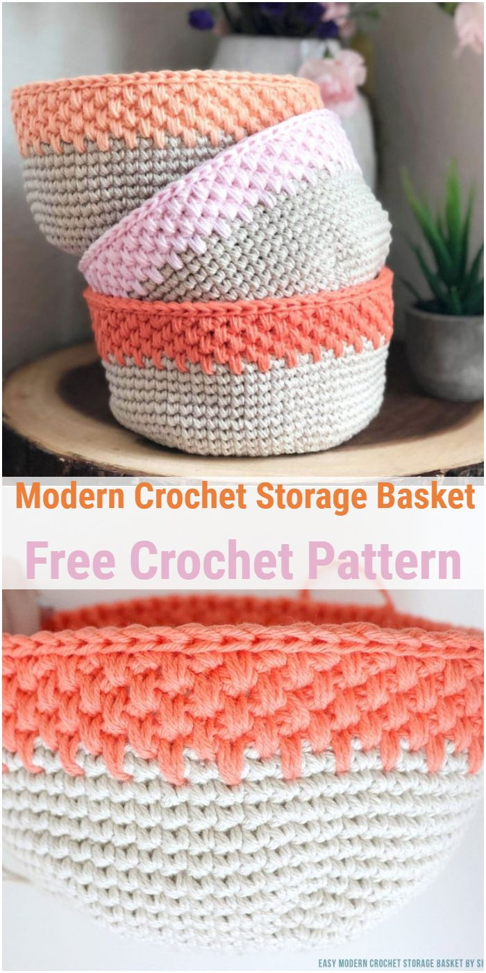 Modern Crochet Storage Basket – Free Crochet Pattern