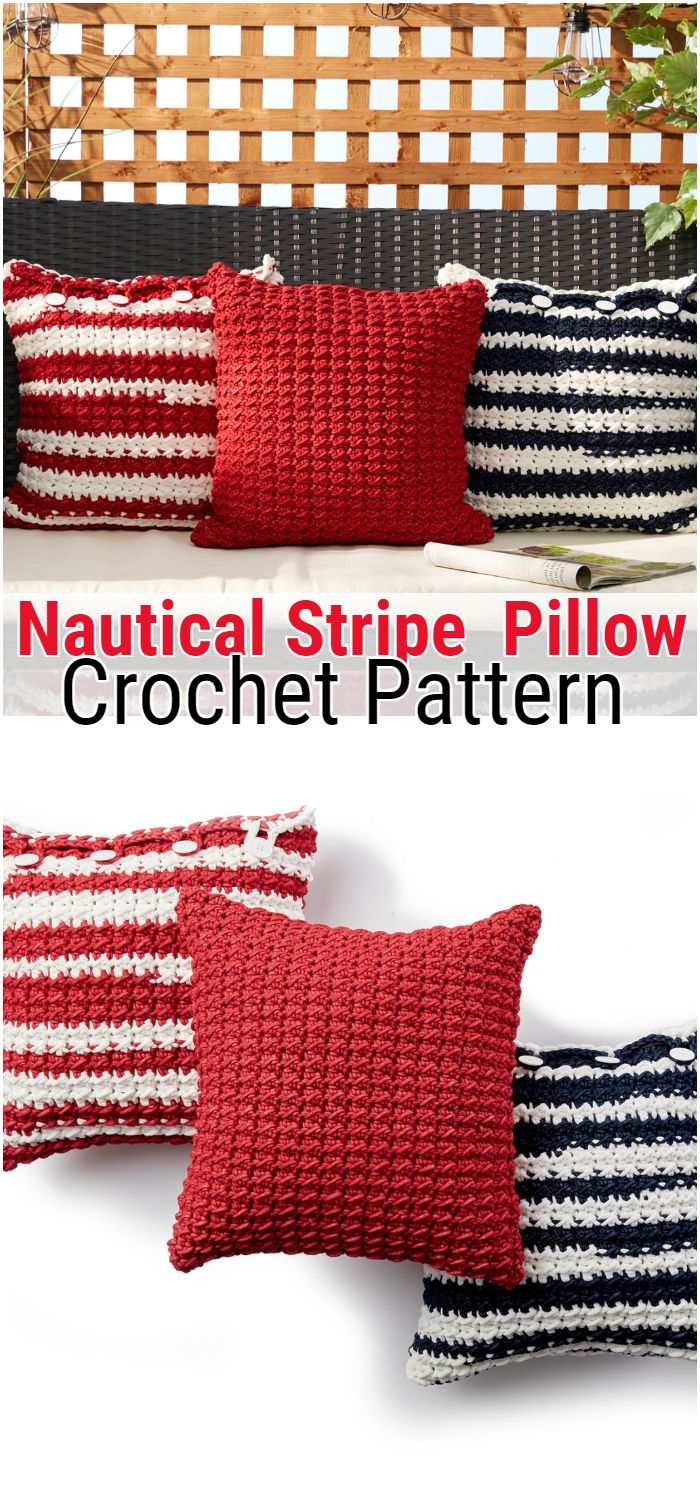 Outdoor Nautical Stripe Crochet Pillow