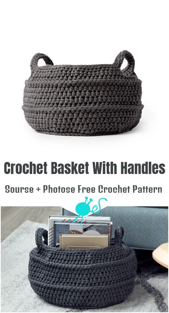 Crochet Basket With Handles Free Crochet Pattern