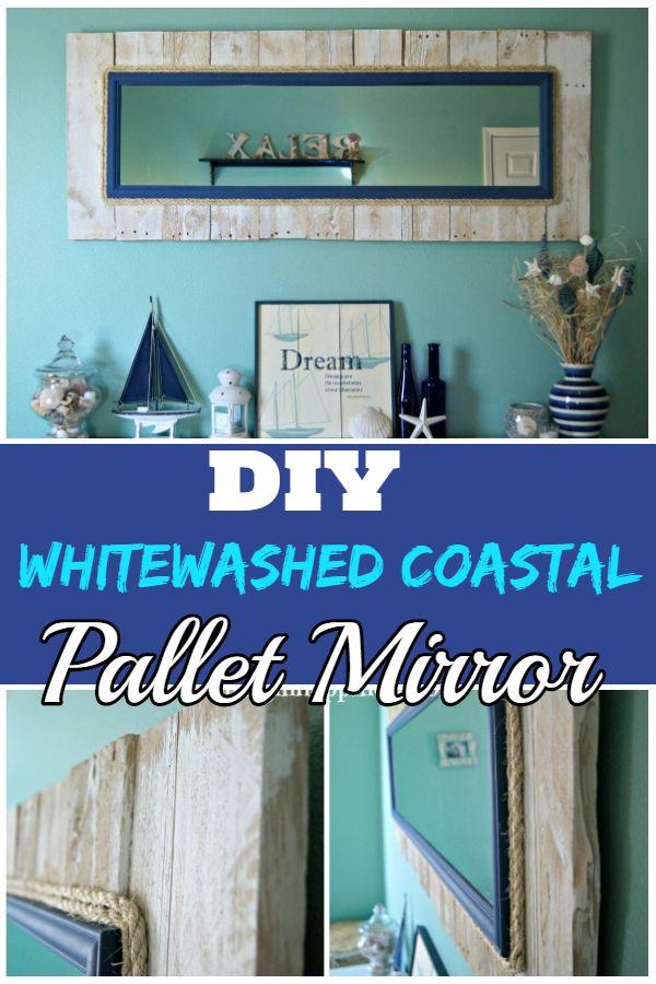 DIY Whitewashed Coastal Pallet Mirror