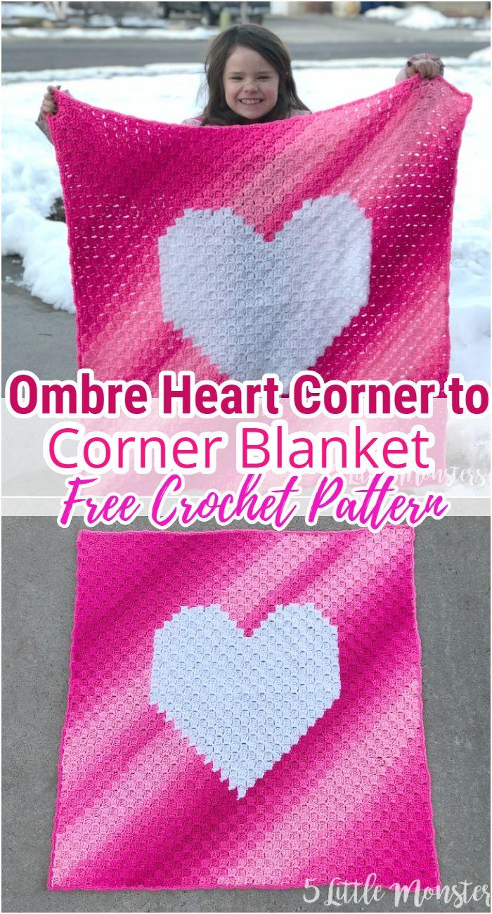 Ombre Heart Corner to Corner Blanket Free Crochet Pattern