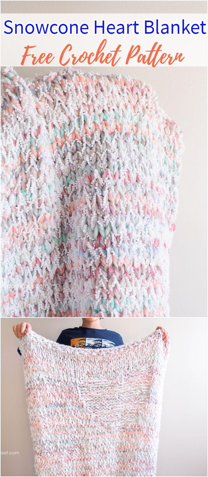 Snowcone Heart Blanket Free Crochet Pattern