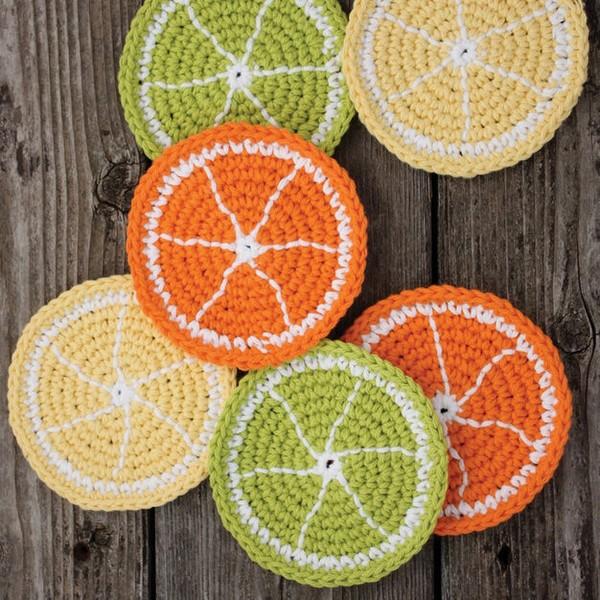 Citrus Slice Coasters Crochet Pattern