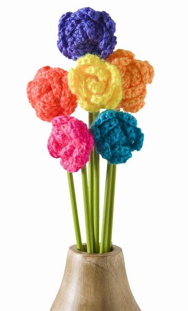 Colorful Crochet Flowers Bouquet