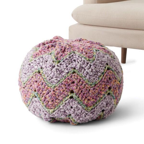 Crochet Chevron Pouf