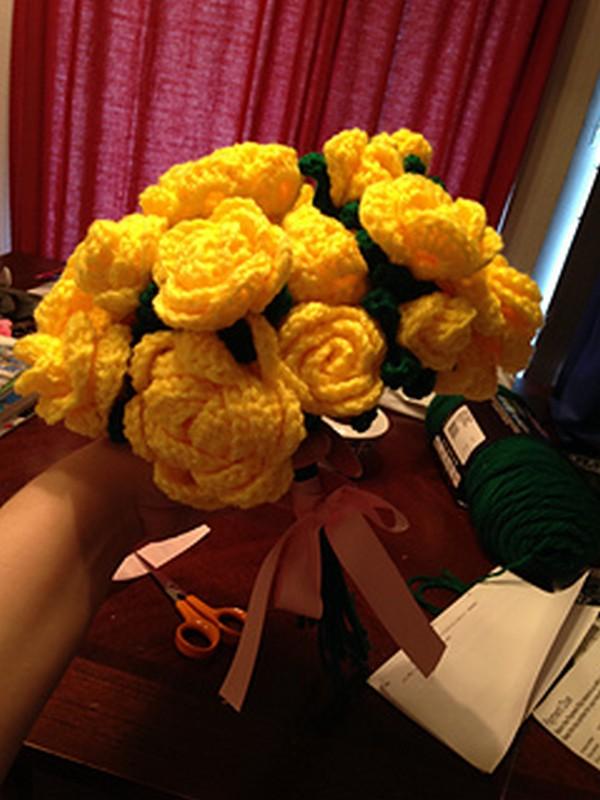 Crochet Flower Rose Bouquet