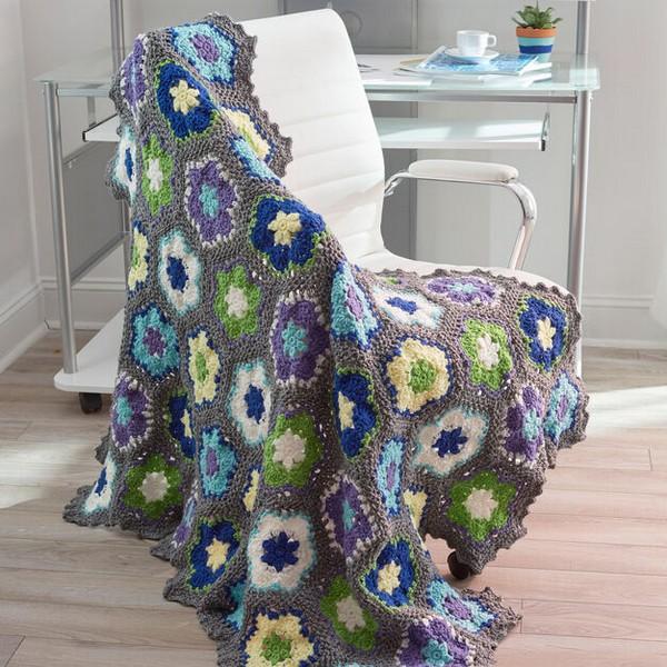 Crochet Flowers In Bloom Throw