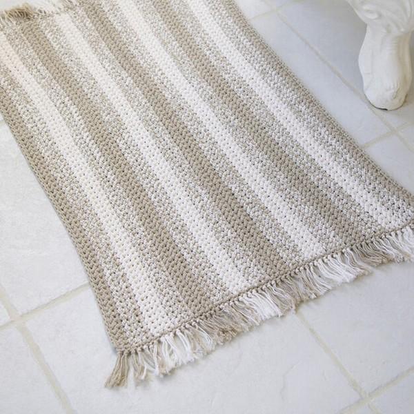 Crochet Natural Stripes Rug