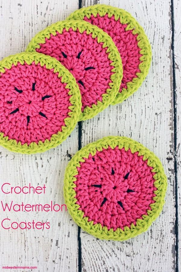 Crochet Watermelon Coasters Pattern