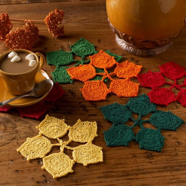 Dancing Leaves Coasters Crochet Pattern