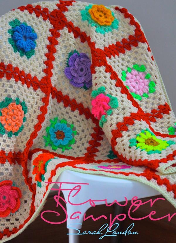 Flower Sampler Crochet Blanket Pattern