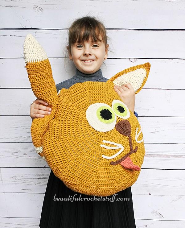 Free Crochet Cat Pillow Pattern | AllFreeCrochet.com | 739x600