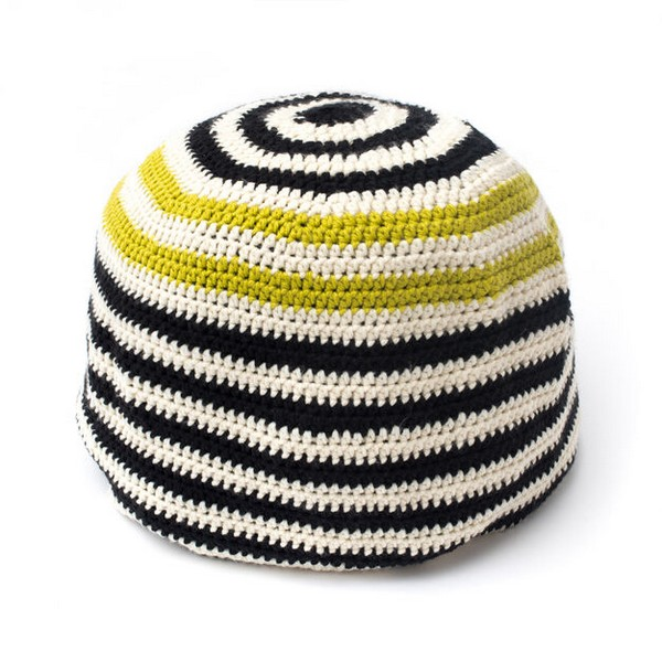 Free Crochet Graphic Stripes Pouf