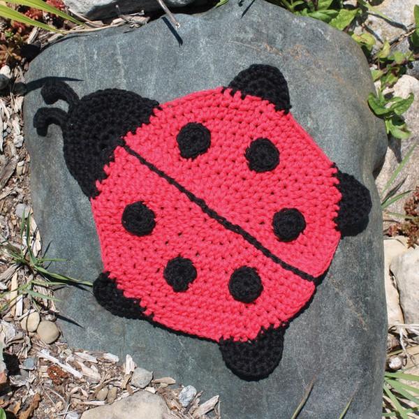 Ladybug Dishcloth Crochet Pattern