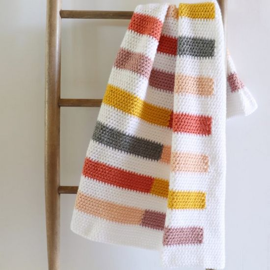 Mesh Stitch Colorful Stripe Crochet Blanket