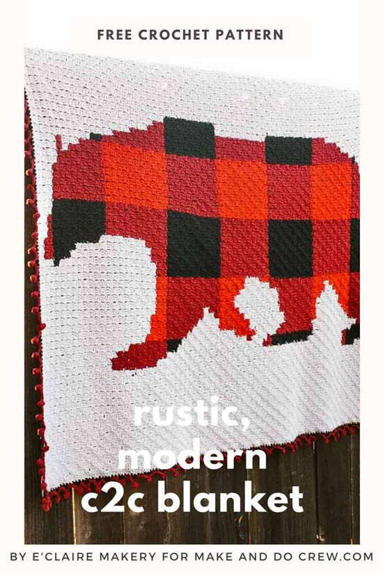 Modern, Rustic C2c Crochet Bear Blanket