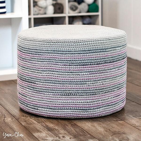 Mosaic Floor Pouf Free Crochet Pattern