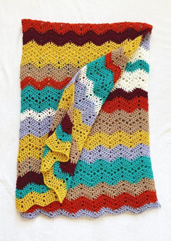 Multi-colored Crochet Chevron Throw Blanket