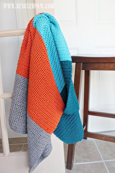 Color Blocked Simple Crochet Blanket Pattern