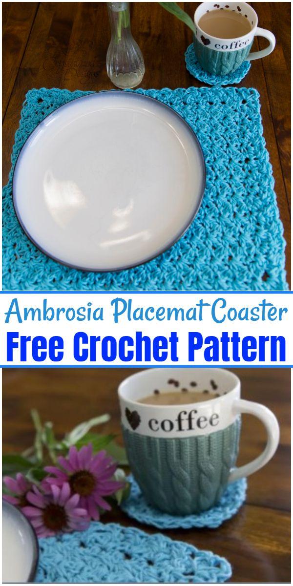 Free Crochet Ambrosia Placemat Coaster Pattern