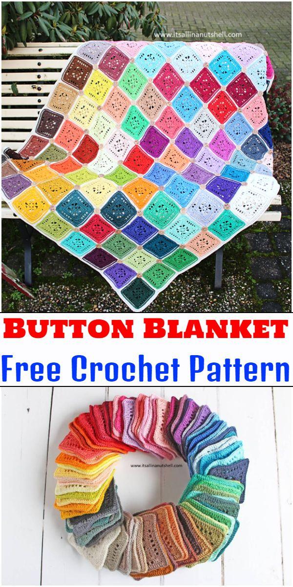 Free Crochet Button Blanket Pattern