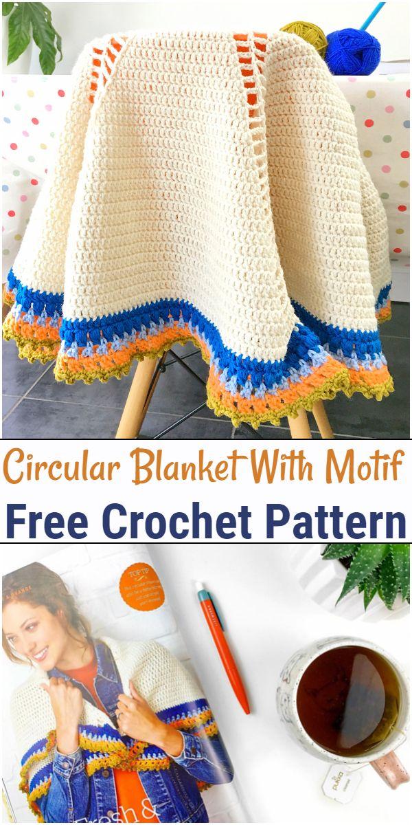 Free Crochet Circular Blanket With Motif Pattern