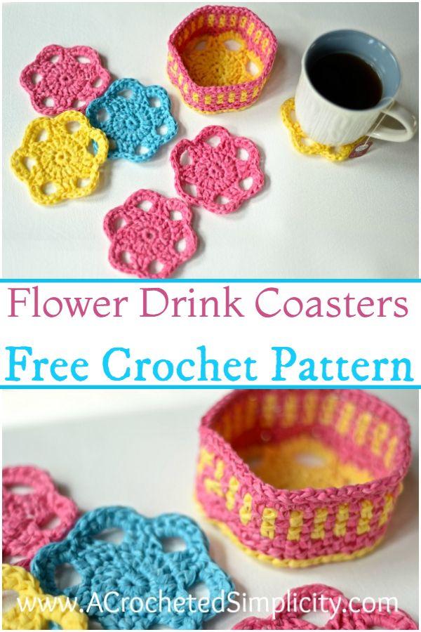 Free Crochet Flower Drink Coasters Pattern