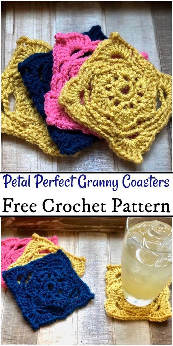 Free Crochet Petal Perfect Granny Coasters Pattern