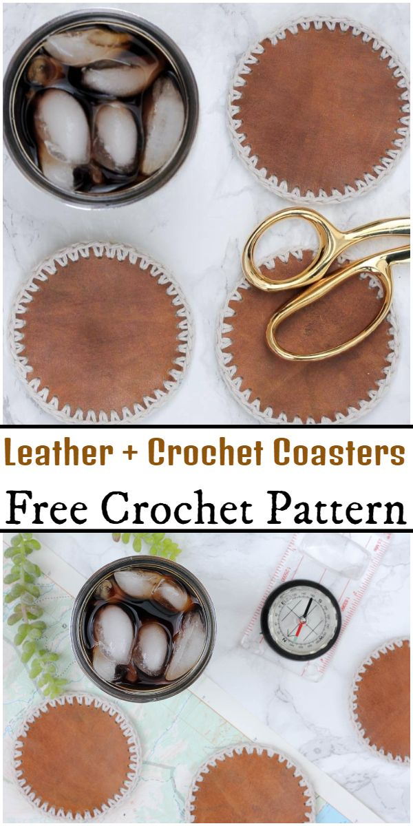 Free Leather + Crochet Coasters Pattern