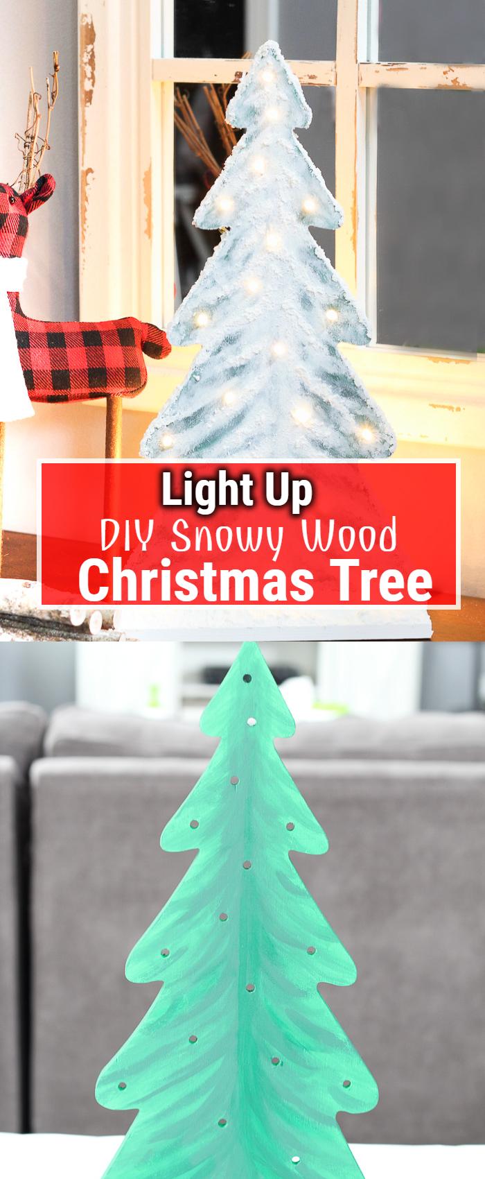 Light Up DIY Snowy Wood Christmas Tree
