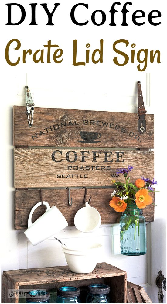 DIY Coffee Crate Lid Sign