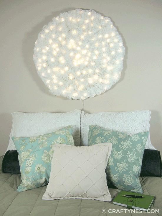 DIY Coffee filter Snowball wall light