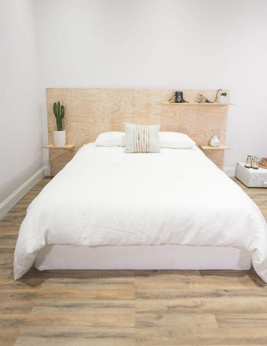 DIY Minimalist Plywood Shelf Headboard