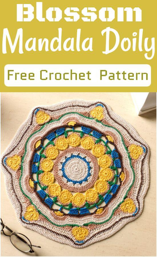 Free Crochet Blossom Mandala Doily Pattern
