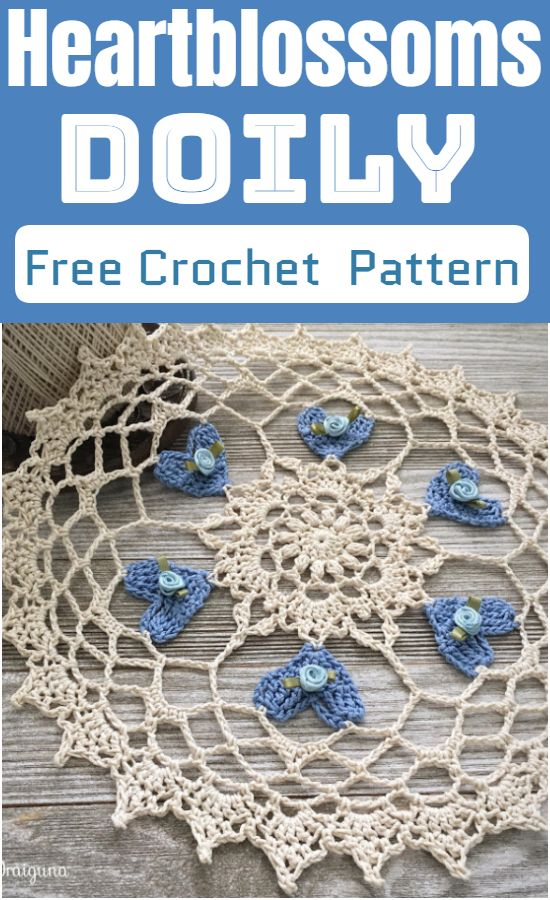 Free Crochet Heartblossoms Doily Pattern