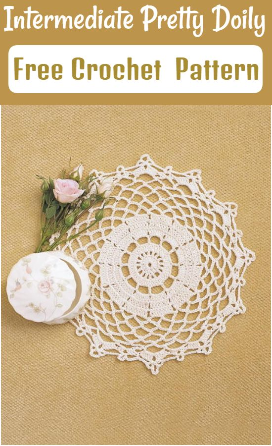 Free Crochet Intermediate Pretty Doily Pattern