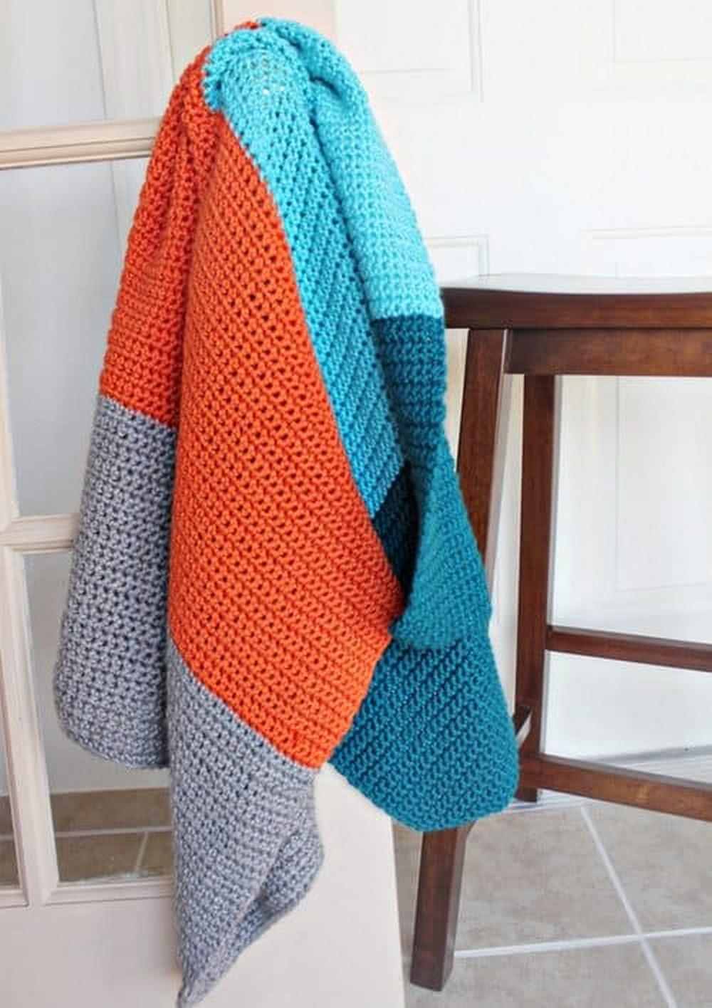 Colour-Blocked Simple Crochet Blanket Pattern