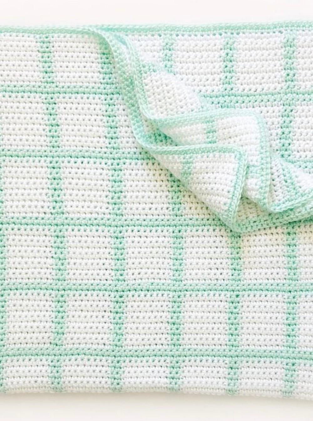 Crochet Windowpane Baby Blanket