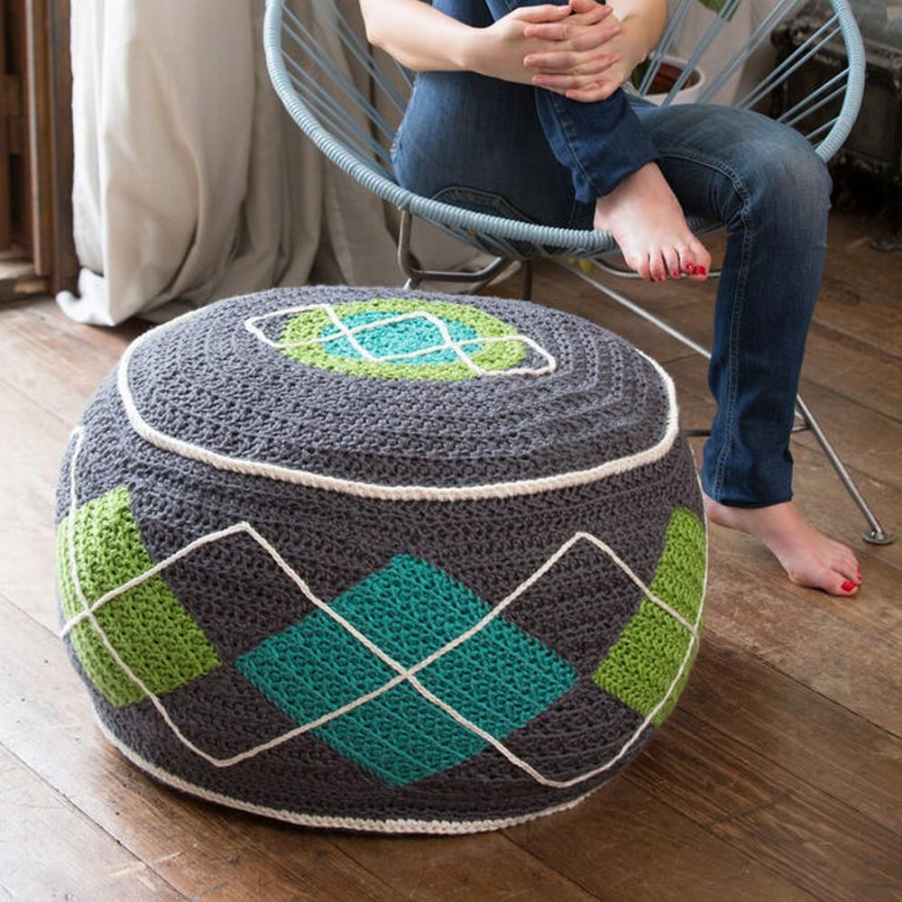 Free Crochet Argyle Bean Bag Ottoman Pattern
