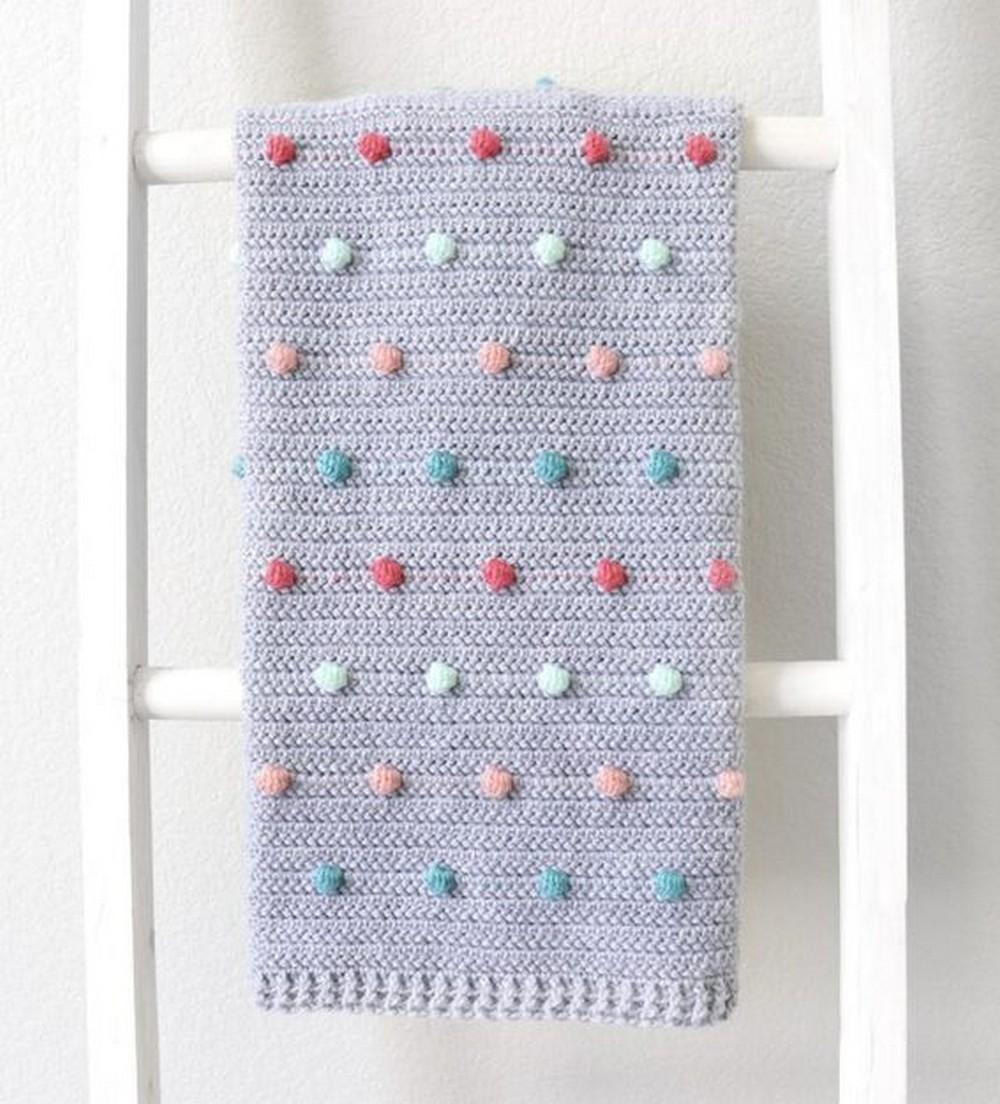 Free Crochet Colorful Polka Dots Baby Blanket Pattern