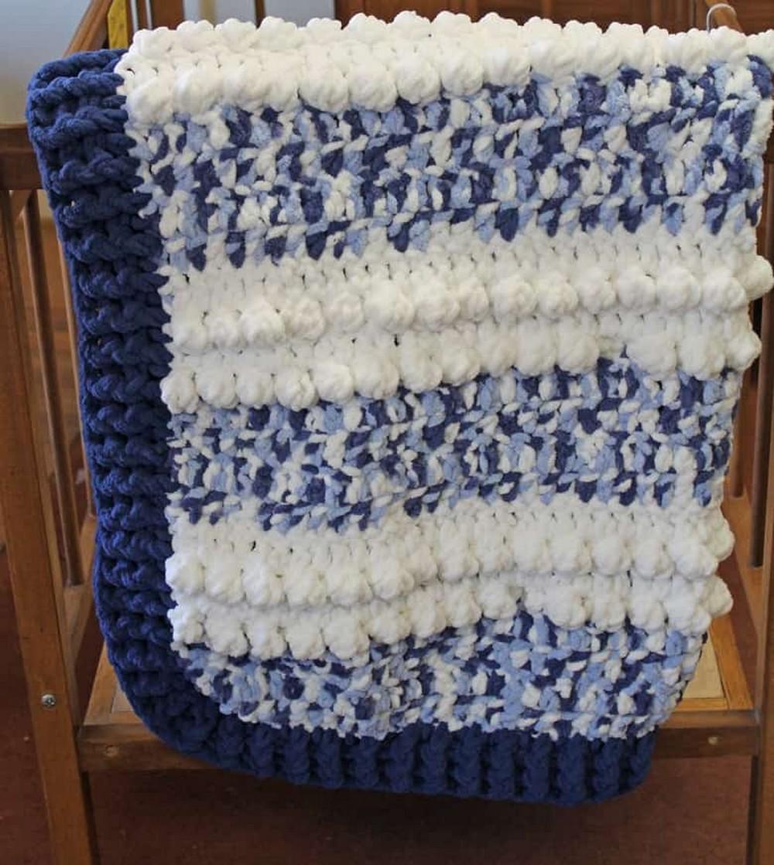Free Crochet Easy Blue Clouds Baby Blanket Pattern