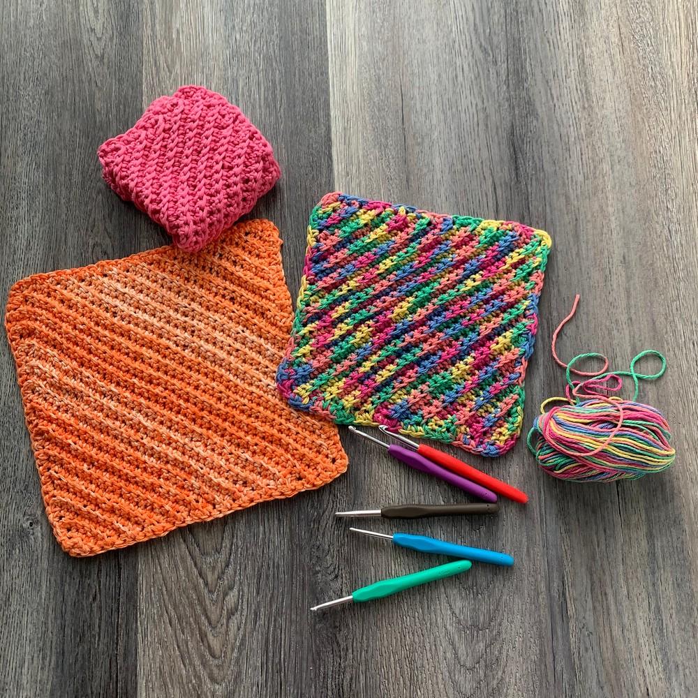 Free Crochet Ribbed Dishcloth Pattern