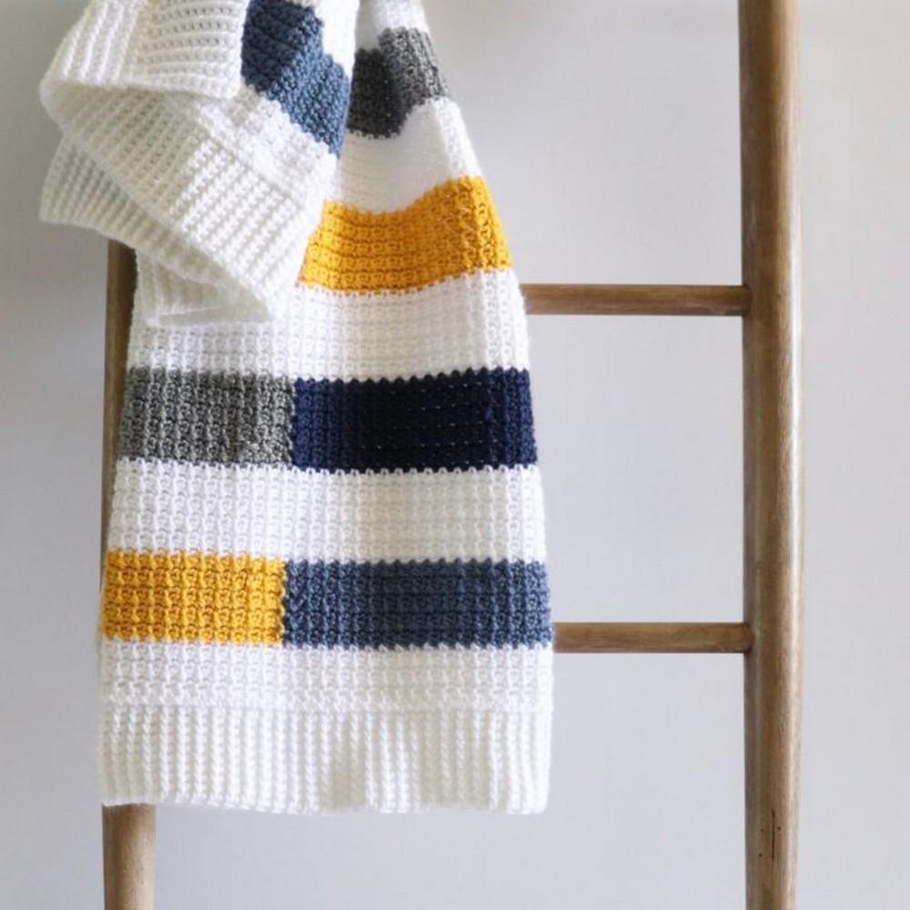 Mesh Stitch Colorful Stripe Blanket Pattern