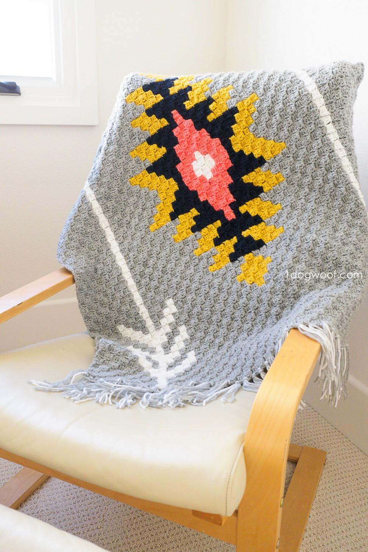 Sunburst C2C Afghan Crochet Blanket Pattern