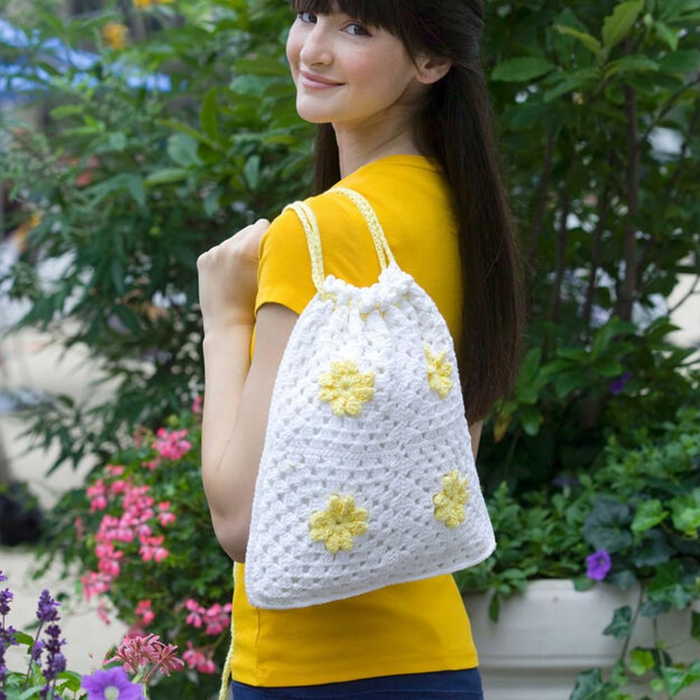 Crochet Daisy Drawstring Bag