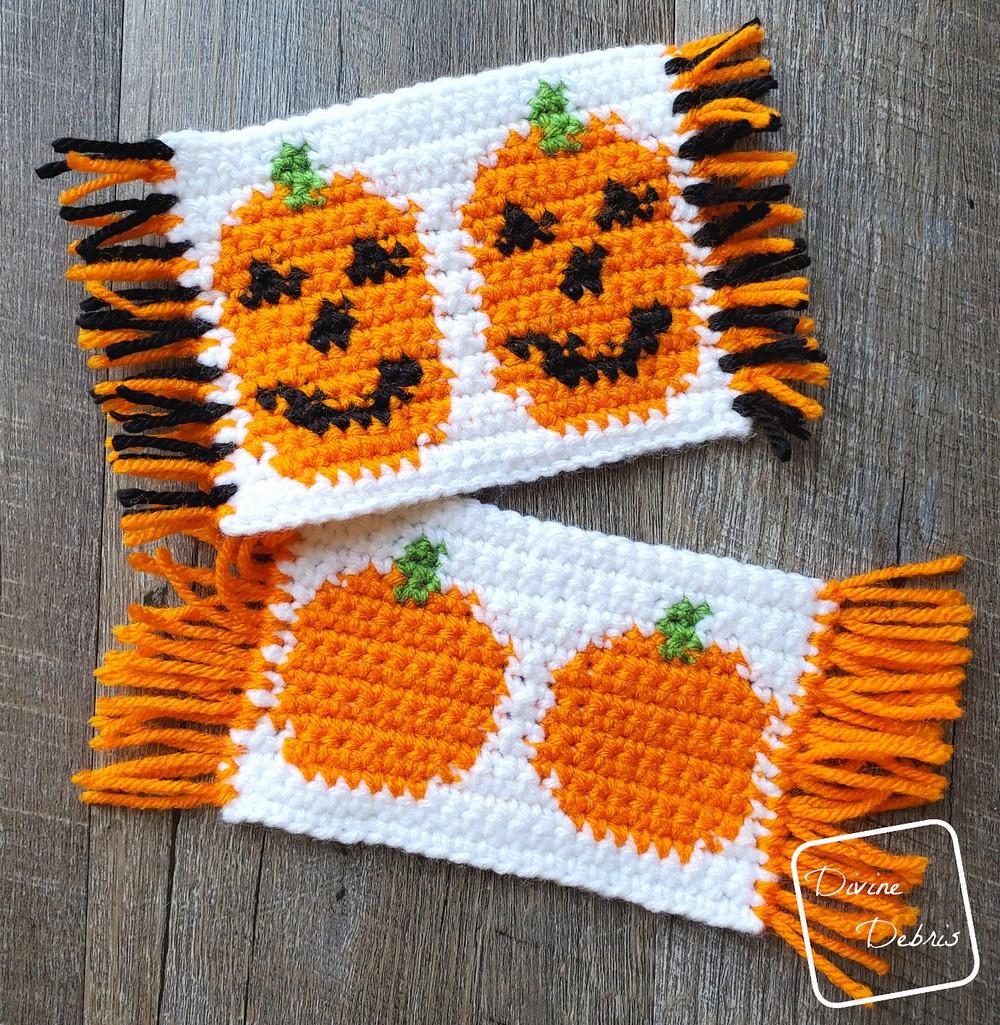 Free Crochet Cute Pumpkins Mug Rugs Pattern